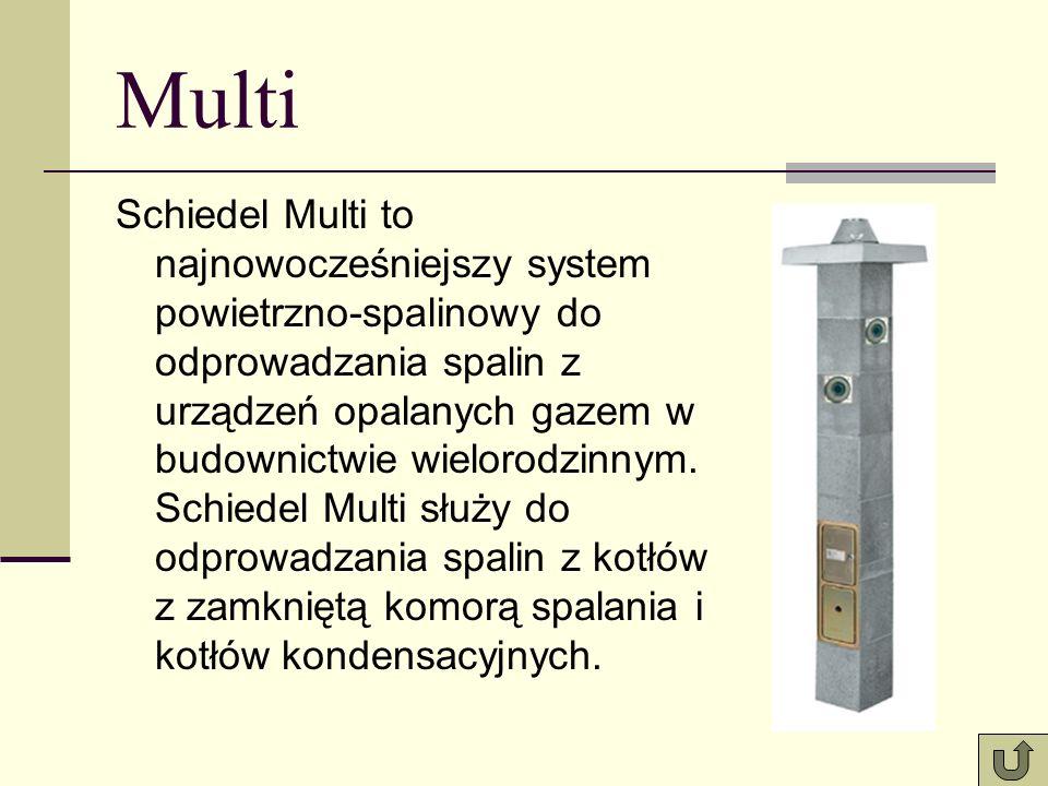 Multi Schiedel Multi to najnowocześniejszy system powietrzno-spalinowy do odprowadzania spalin z urządzeń opalanych gazem w budownictwie wielorodzinnym.