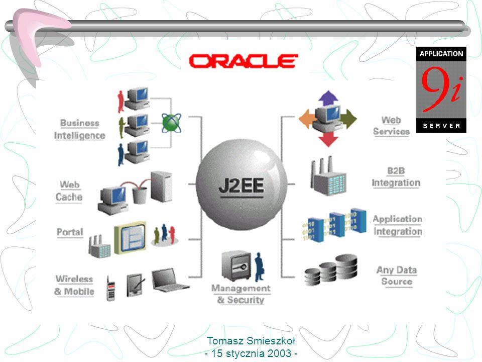 J2EE: zaawansowane narzędzia do opracowywania i wdrażania aplikacji internetowych szybkie wykonywanie kodu JAVA Serwisy internetowe: szybkie włączanie aplikacji JAVA w serwis WWW integracja systemów informatycznych z partnerami (dostawcy, odbiorcy), pełna obsługa B2B współpraca z bazami danych łatwe monitorowanie i zarządzanie procesami online Tomasz Smieszkoł - 15 stycznia 2003 -