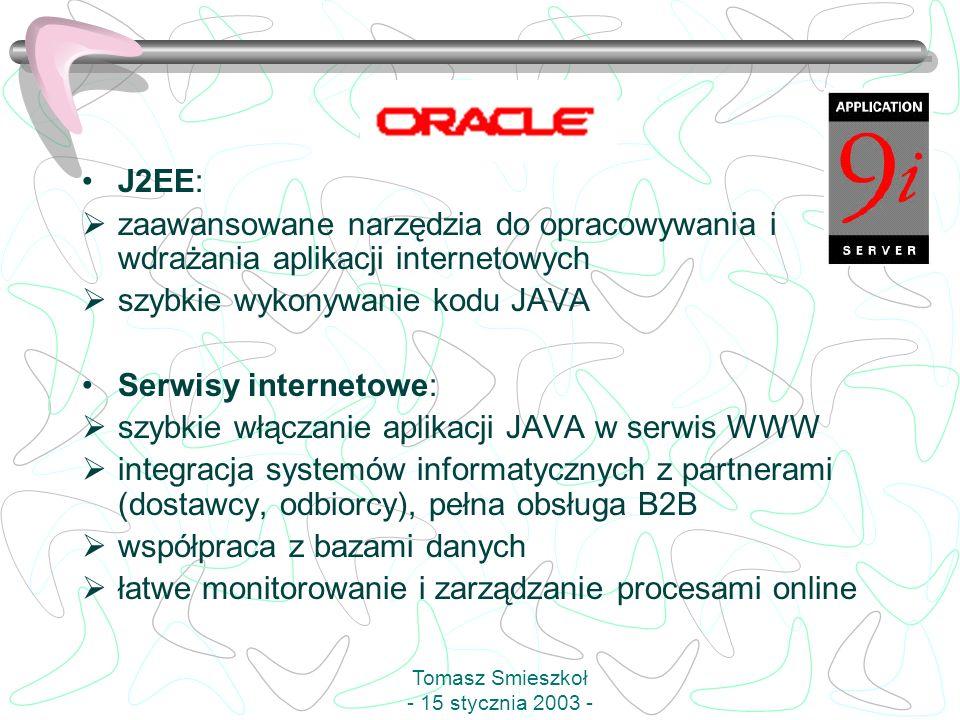 J2EE: zaawansowane narzędzia do opracowywania i wdrażania aplikacji internetowych szybkie wykonywanie kodu JAVA Serwisy internetowe: szybkie włączanie