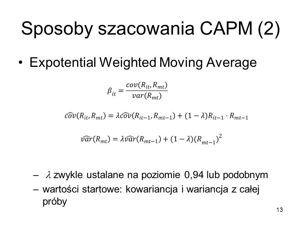 13 Sposoby szacowania CAPM (2) Expotential Weighted Moving Average – zwykle ustalane na poziomie 0,94 lub podobnym –wartości startowe: kowariancja i w