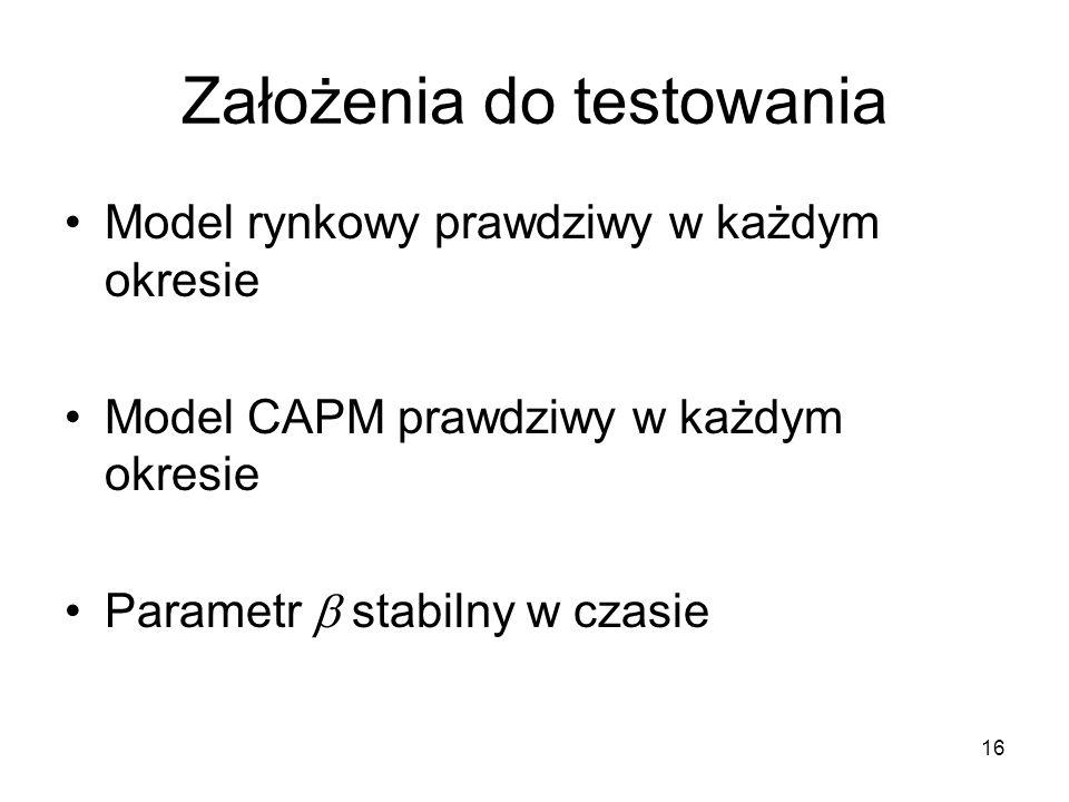 16 Założenia do testowania Model rynkowy prawdziwy w każdym okresie Model CAPM prawdziwy w każdym okresie Parametr stabilny w czasie