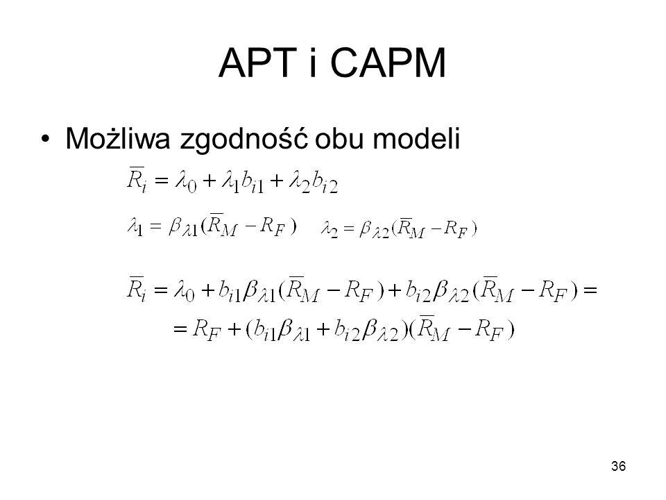36 APT i CAPM Możliwa zgodność obu modeli