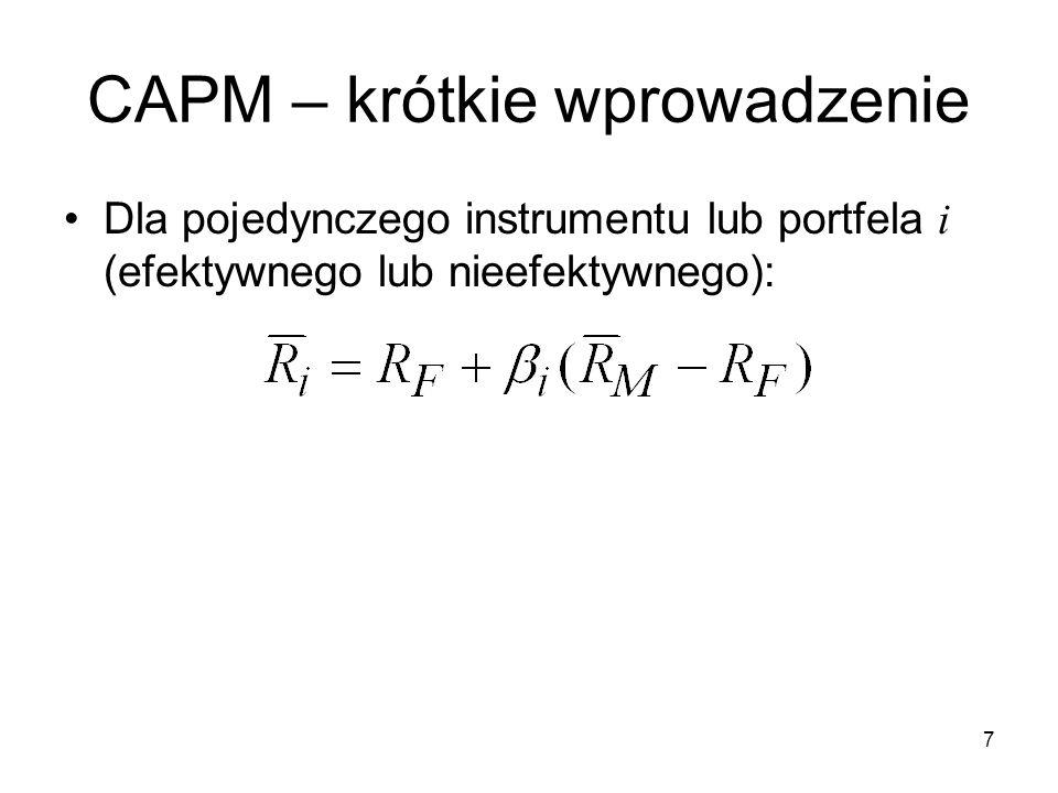 18 Testy empiryczne CAPM Lintner / powtórzone przez Douglasa (1968) –Model rynkowy, roczne szeregi czasowe (1954- 1963), beta dla 301 spółek –Drugie równanie: Oczekiwane wartości: Wyniki: a 1 za duże, a 2 za małe, a 3 za duże, CAPM nie działa