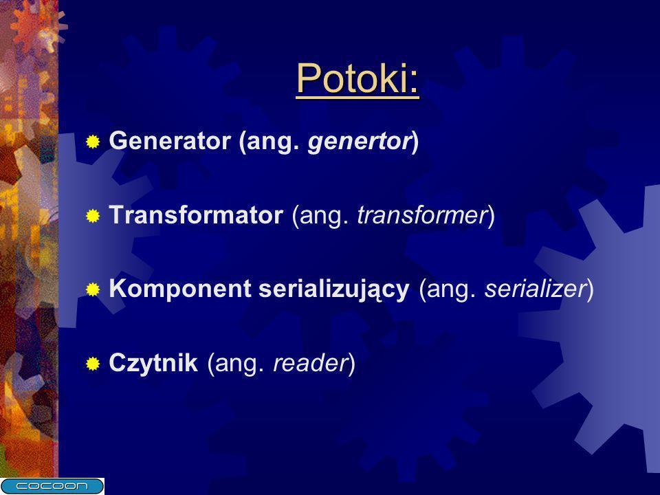 Potoki: Generator (ang. genertor) Transformator (ang. transformer) Komponent serializujący (ang. serializer) Czytnik (ang. reader)