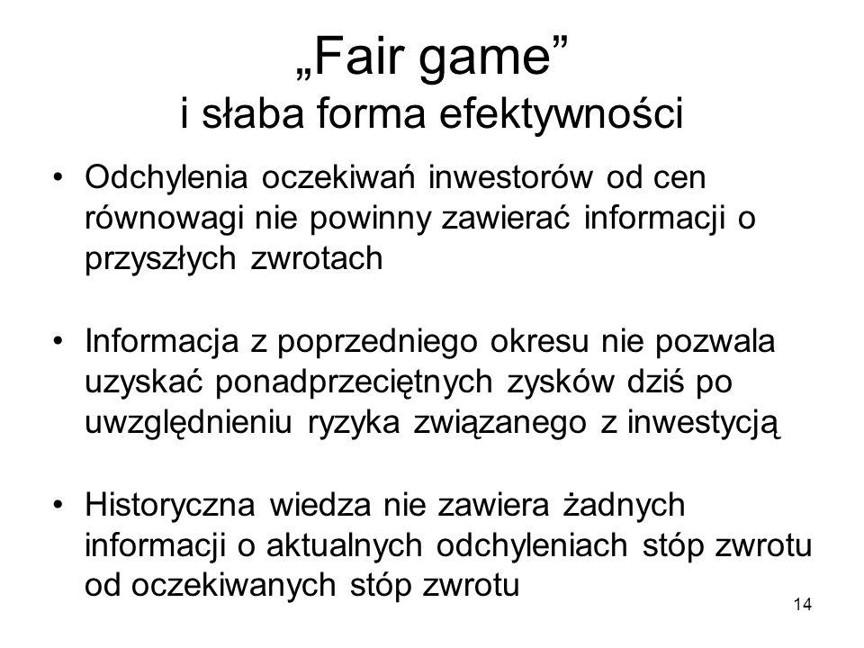 14 Fair game i słaba forma efektywności Odchylenia oczekiwań inwestorów od cen równowagi nie powinny zawierać informacji o przyszłych zwrotach Informa