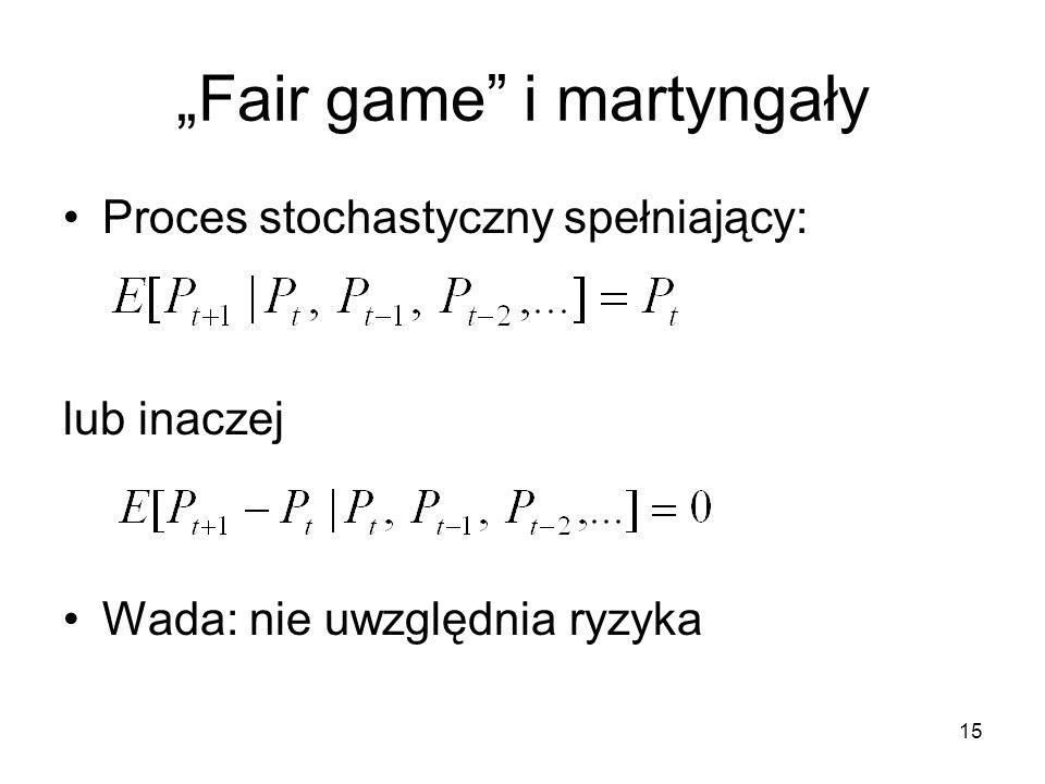 15 Fair game i martyngały Proces stochastyczny spełniający: lub inaczej Wada: nie uwzględnia ryzyka