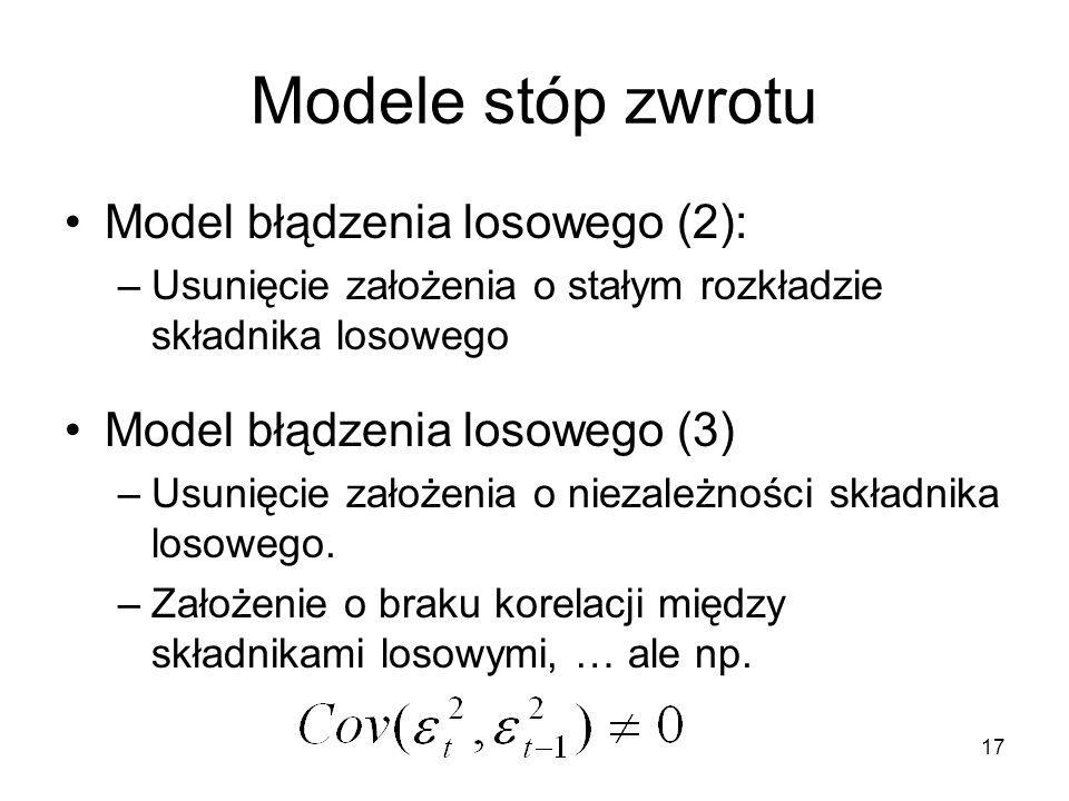 17 Modele stóp zwrotu Model błądzenia losowego (2): –Usunięcie założenia o stałym rozkładzie składnika losowego Model błądzenia losowego (3) –Usunięci