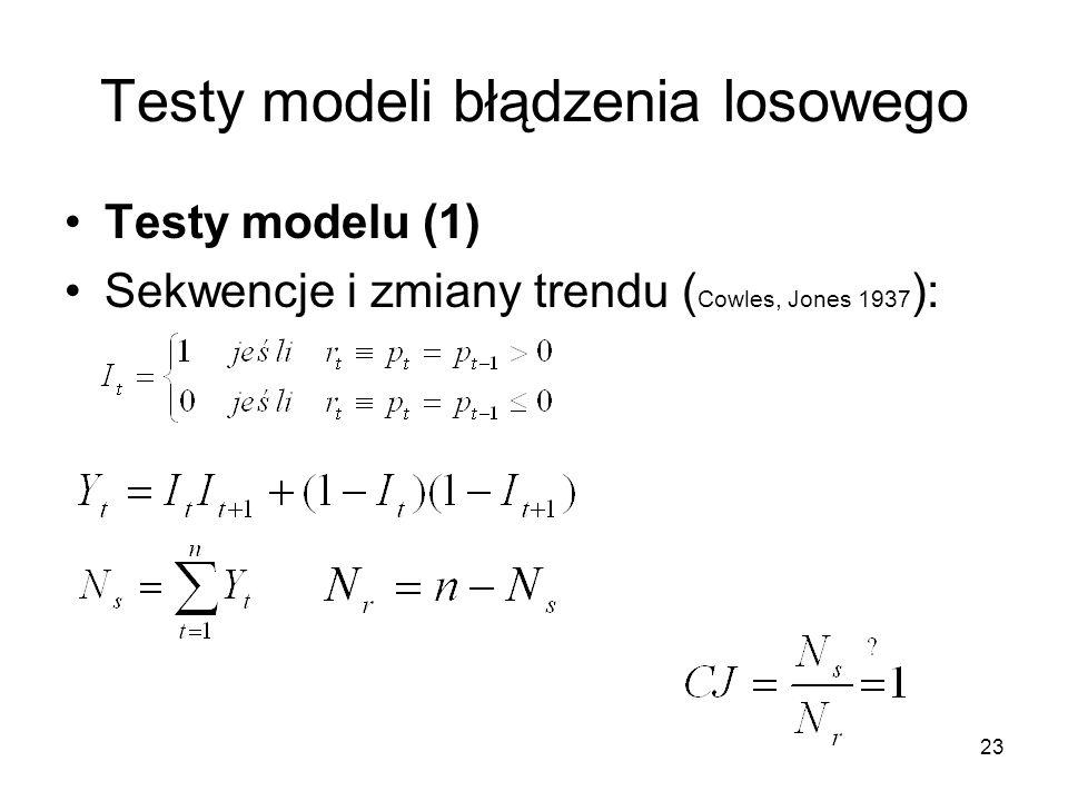 23 Testy modeli błądzenia losowego Testy modelu (1) Sekwencje i zmiany trendu ( Cowles, Jones 1937 ):