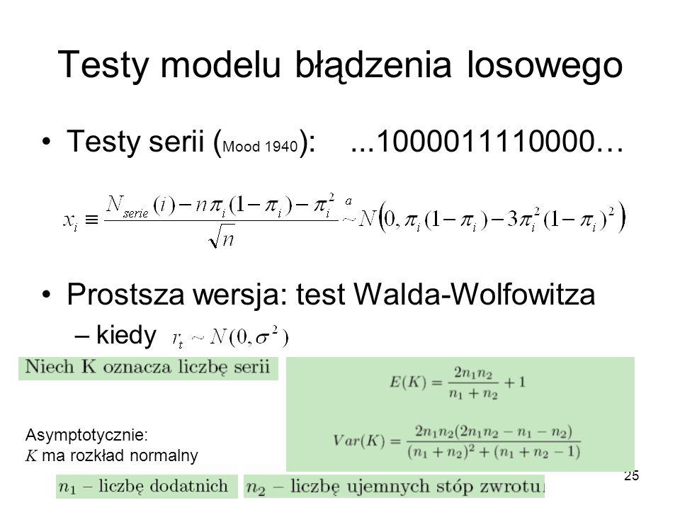 25 Testy modelu błądzenia losowego Testy serii ( Mood 1940 ):...1000011110000… Prostsza wersja: test Walda-Wolfowitza –kiedy Asymptotycznie: K ma rozk