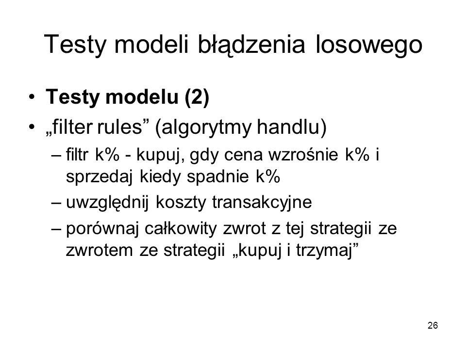 26 Testy modeli błądzenia losowego Testy modelu (2) filter rules (algorytmy handlu) –filtr k% - kupuj, gdy cena wzrośnie k% i sprzedaj kiedy spadnie k