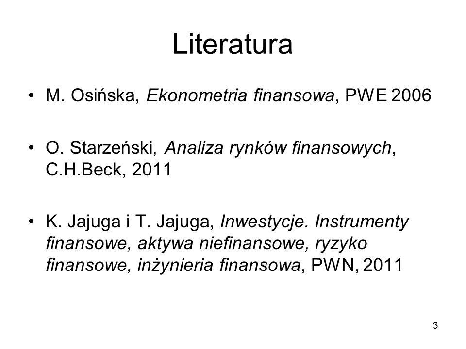 3 Literatura M. Osińska, Ekonometria finansowa, PWE 2006 O. Starzeński, Analiza rynków finansowych, C.H.Beck, 2011 K. Jajuga i T. Jajuga, Inwestycje.