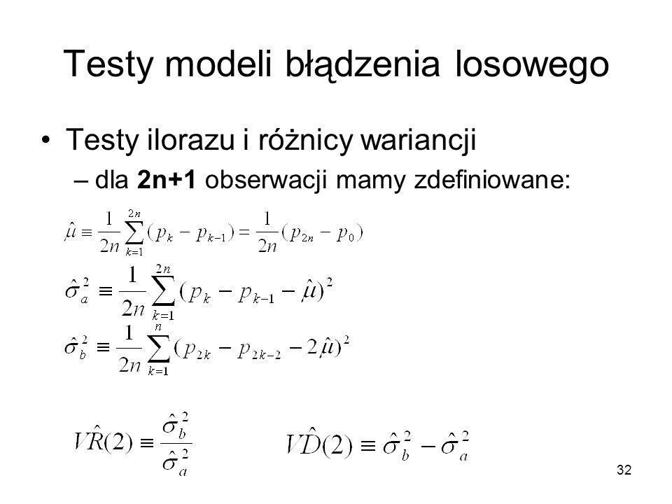 32 Testy modeli błądzenia losowego Testy ilorazu i różnicy wariancji –dla 2n+1 obserwacji mamy zdefiniowane: