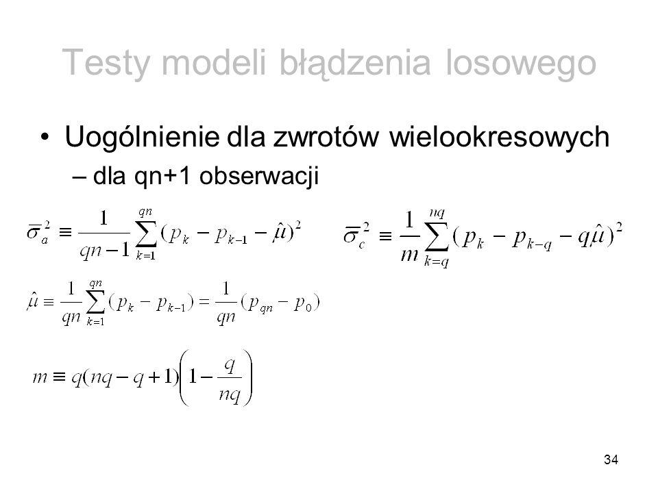 34 Testy modeli błądzenia losowego Uogólnienie dla zwrotów wielookresowych –dla qn+1 obserwacji