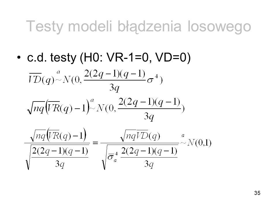 35 Testy modeli błądzenia losowego c.d. testy (H0: VR-1=0, VD=0)