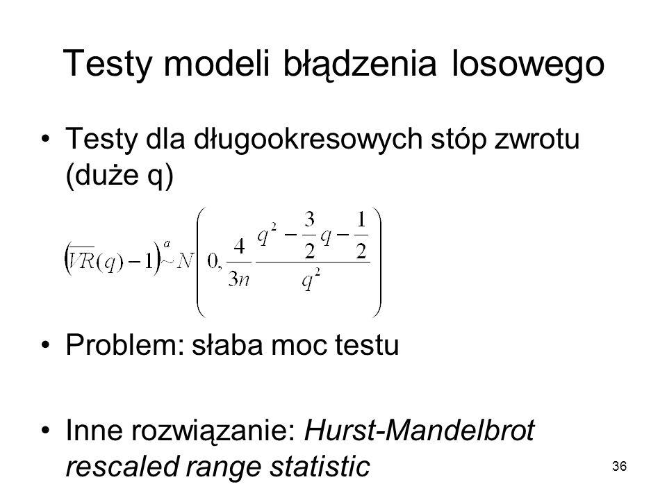 36 Testy modeli błądzenia losowego Testy dla długookresowych stóp zwrotu (duże q) Problem: słaba moc testu Inne rozwiązanie: Hurst-Mandelbrot rescaled