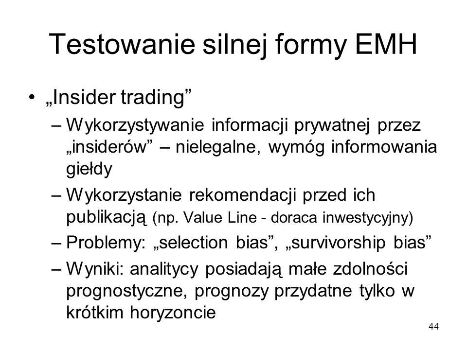 44 Testowanie silnej formy EMH Insider trading –Wykorzystywanie informacji prywatnej przez insiderów – nielegalne, wymóg informowania giełdy –Wykorzys