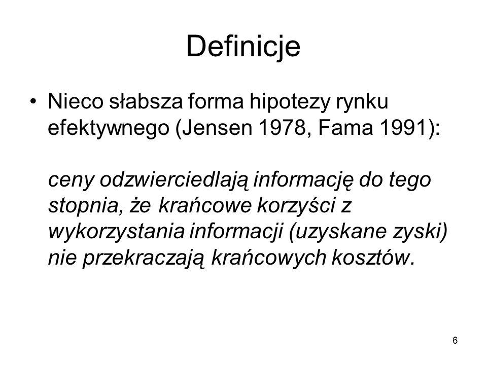 6 Definicje Nieco słabsza forma hipotezy rynku efektywnego (Jensen 1978, Fama 1991): ceny odzwierciedlają informację do tego stopnia, że krańcowe korz