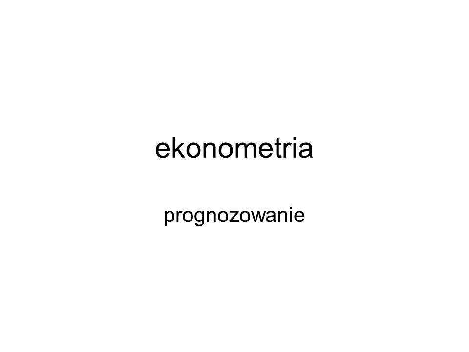 etapy Zadanie prognostyczne Przesłanki prognozy Analiza danych Wybór zasady prognozowania Wyznaczenie prognozy i interpretacja Ocena trafności ex ante i ex post