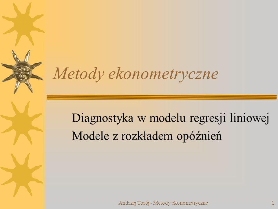 Andrzej Torój - Metody ekonometryczne 22 Autoregresyjny model z rozkładem opóźnień (ADL) Mnożnik bezpośredni dla zmiennej k: Statyczne rozwiązanie długookresowe mnożnik długookresowy