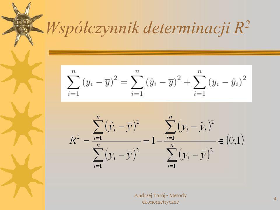 Andrzej Torój - Metody ekonometryczne 5 Wady R 2 im więcej zmiennych w modelu, tym lepsze dopasowanie (zawsze!) skorygowany współczynnik determinacji rozwiązanie: skorygowany współczynnik determinacji (brana pod uwagę także liczba zmiennych objaśniających) kara za nadmiar parametrów
