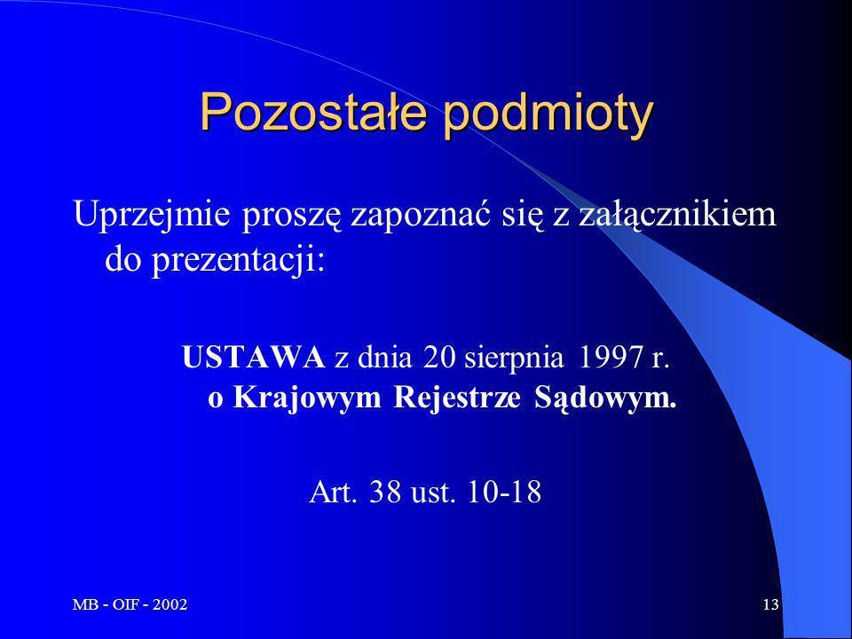 MB - OIF - 200213 Pozostałe podmioty Uprzejmie proszę zapoznać się z załącznikiem do prezentacji: USTAWA z dnia 20 sierpnia 1997 r. o Krajowym Rejestr