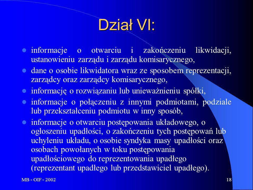 MB - OIF - 200218 Dział VI: informacje o otwarciu i zakończeniu likwidacji, ustanowieniu zarządu i zarządu komisarycznego, dane o osobie likwidatora w