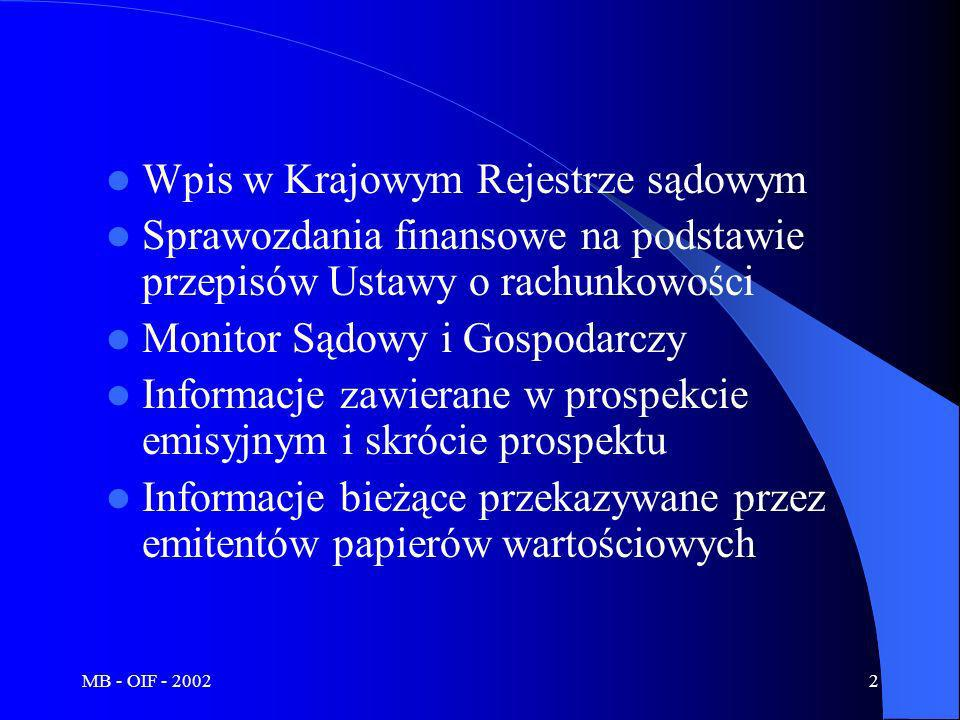 MB - OIF - 20023 KRS Prowadzony przez sądy Ujednolicony Umieszczanie w nim danych jest obligatoryjne Wiążą się z nim domniemania prawne (zabezpieczenie dla kontrahentów)