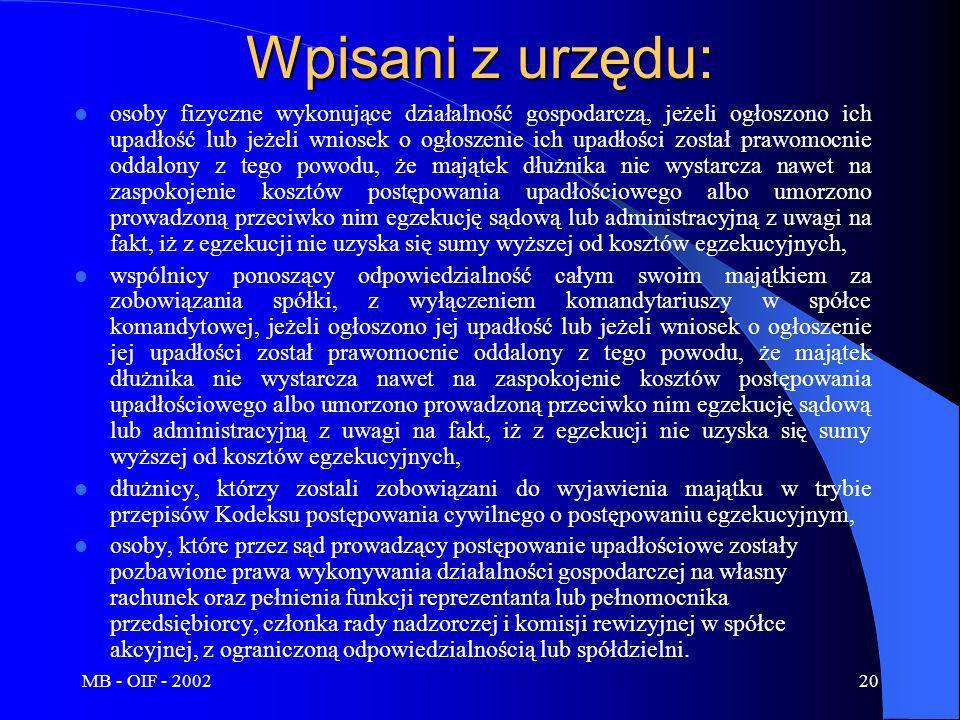 MB - OIF - 200220 Wpisani z urzędu: osoby fizyczne wykonujące działalność gospodarczą, jeżeli ogłoszono ich upadłość lub jeżeli wniosek o ogłoszenie i