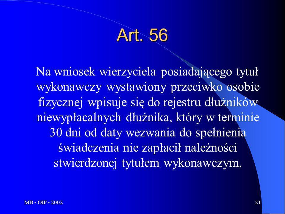 MB - OIF - 200221 Art. 56 Na wniosek wierzyciela posiadającego tytuł wykonawczy wystawiony przeciwko osobie fizycznej wpisuje się do rejestru dłużnikó