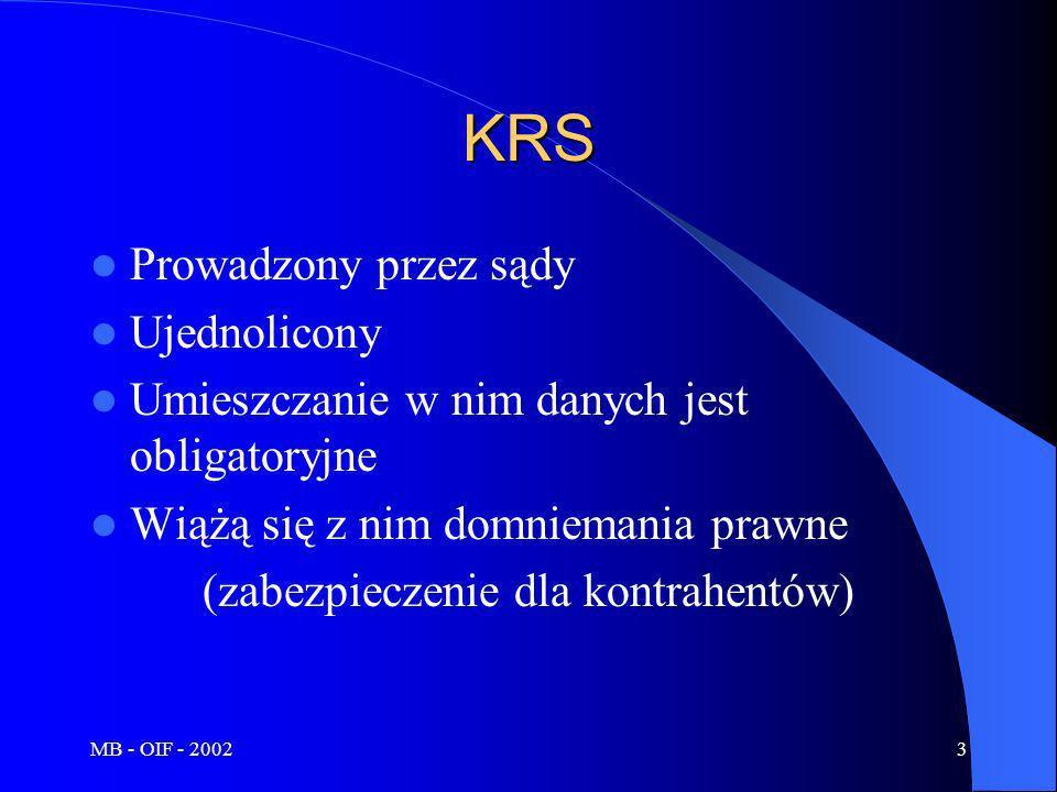 MB - OIF - 20023 KRS Prowadzony przez sądy Ujednolicony Umieszczanie w nim danych jest obligatoryjne Wiążą się z nim domniemania prawne (zabezpieczeni