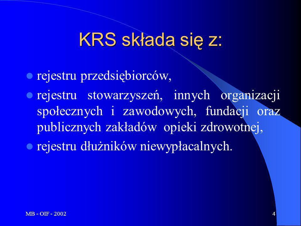 MB - OIF - 20025 W KRS odnaleźć można informacje na temat: osób fizycznych wykonujących działalność gospodarczą, spółek jawnych, spółek partnerskich, spółek komandytowych, spółek komandytowo-akcyjnych, spółek z ograniczoną odpowiedzialnością, spółek akcyjnych, spółdzielni, przedsiębiorstw państwowych, jednostek badawczo-rozwojowych, przedsiębiorców określonych w przepisach o zasadach prowadzenia na terytorium Rzeczypospolitej Polskiej działalności gospodarczej w zakresie drobnej wytwórczości przez zagraniczne osoby prawne i fizyczne, towarzystw ubezpieczeń wzajemnych, innych osób prawnych, jeżeli wykonują działalność gospodarczą i podlegają obowiązkowi wpisu do rejestru, oddziałów przedsiębiorców zagranicznych działających na terytorium Rzeczypospolitej Polskiej, głównych oddziałów zagranicznych zakładów ubezpieczeń.