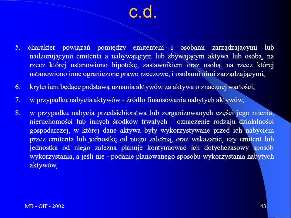 MB - OIF - 200243c.d. 5. charakter powiązań pomiędzy emitentem i osobami zarządzającymi lub nadzorującymi emitenta a nabywającym lub zbywającym aktywa