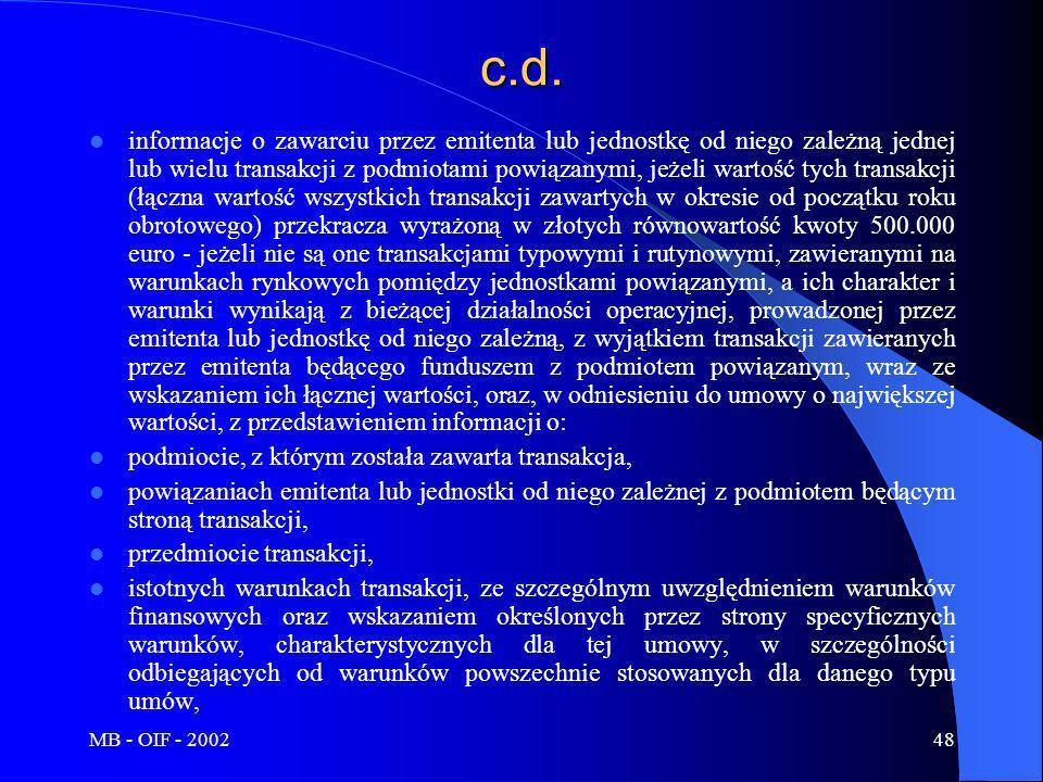 MB - OIF - 200248c.d. informacje o zawarciu przez emitenta lub jednostkę od niego zależną jednej lub wielu transakcji z podmiotami powiązanymi, jeżeli