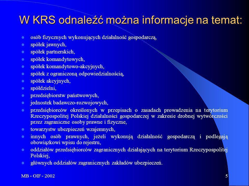 MB - OIF - 20025 W KRS odnaleźć można informacje na temat: osób fizycznych wykonujących działalność gospodarczą, spółek jawnych, spółek partnerskich,