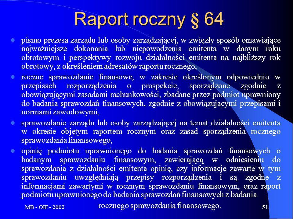 MB - OIF - 200251 Raport roczny § 64 pismo prezesa zarządu lub osoby zarządzającej, w zwięzły sposób omawiające najważniejsze dokonania lub niepowodze