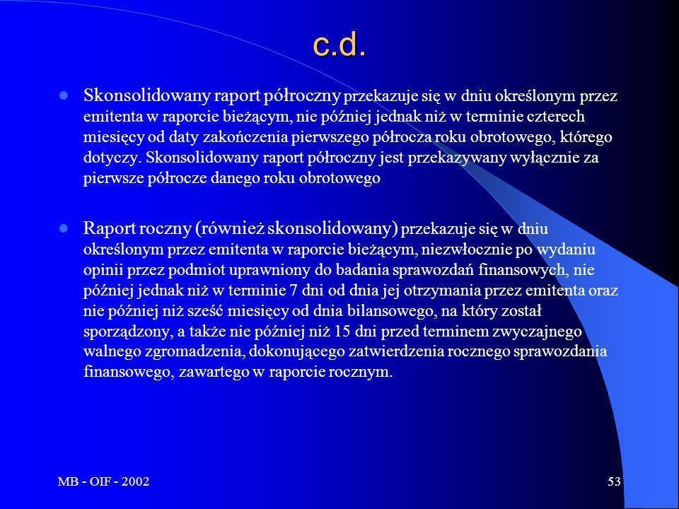 MB - OIF - 200253c.d. Skonsolidowany raport półroczny przekazuje się w dniu określonym przez emitenta w raporcie bieżącym, nie później jednak niż w te
