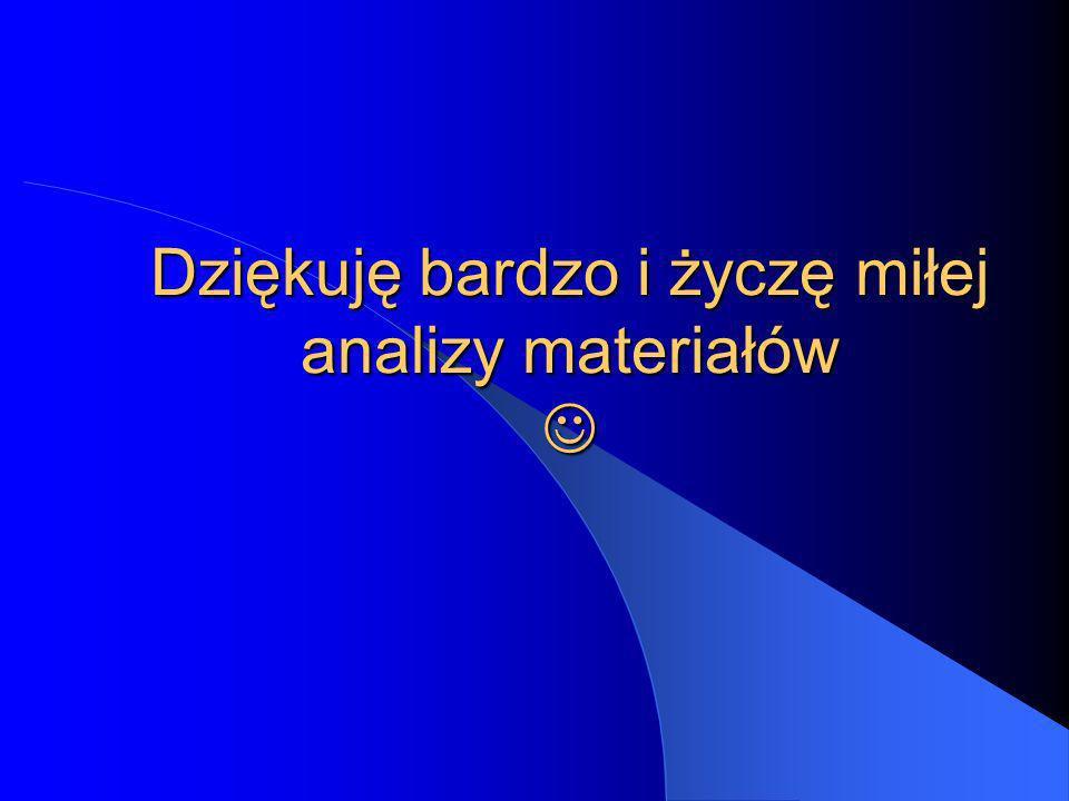 Dziękuję bardzo i życzę miłej analizy materiałów Dziękuję bardzo i życzę miłej analizy materiałów