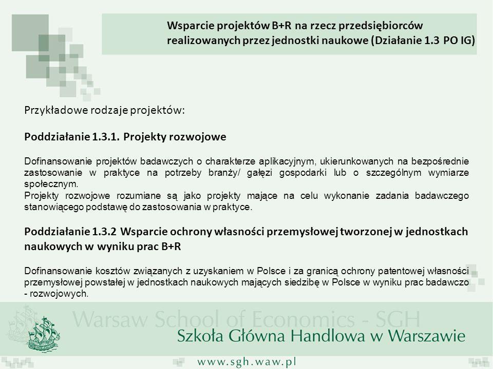 * Cele PO IG: Rozwój polskiej gospodarki w oparciu o innowacyjne przedsiębiorstwa poprzez: 1.