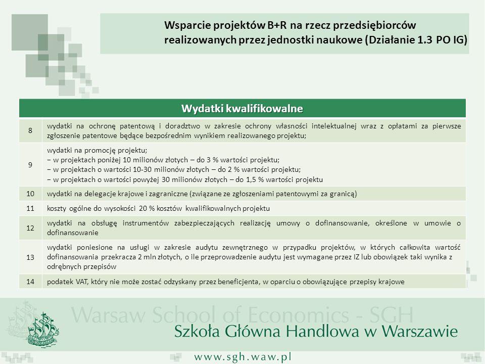 Wydatki kwalifikowalne 8 wydatki na ochronę patentową i doradztwo w zakresie ochrony własności intelektualnej wraz z opłatami za pierwsze zgłoszenie patentowe będące bezpośrednim wynikiem realizowanego projektu; 9 wydatki na promocję projektu; w projektach poniżej 10 milionów złotych – do 3 % wartości projektu; w projektach o wartości 10-30 milionów złotych – do 2 % wartości projektu; w projektach o wartości powyżej 30 milionów złotych – do 1,5 % wartości projektu 10 wydatki na delegacje krajowe i zagraniczne (związane ze zgłoszeniami patentowymi za granicą) 11 koszty ogólne do wysokości 20 % kosztów kwalifikowalnych projektu 12 wydatki na obsługę instrumentów zabezpieczających realizację umowy o dofinansowanie, określone w umowie o dofinansowanie 13 wydatki poniesione na usługi w zakresie audytu zewnętrznego w przypadku projektów, w których całkowita wartość dofinansowania przekracza 2 mln złotych, o ile przeprowadzenie audytu jest wymagane przez IZ lub obowiązek taki wynika z odrębnych przepisów 14 podatek VAT, który nie może zostać odzyskany przez beneficjenta, w oparciu o obowiązujące przepisy krajowe Wsparcie projektów B+R na rzecz przedsiębiorców realizowanych przez jednostki naukowe (Działanie 1.3 PO IG)