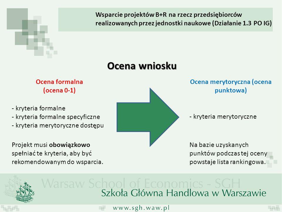 Ocena wniosku Ocena formalna (ocena 0-1) Ocena merytoryczna (ocena punktowa) - kryteria formalne - kryteria formalne specyficzne - kryteria merytorycz