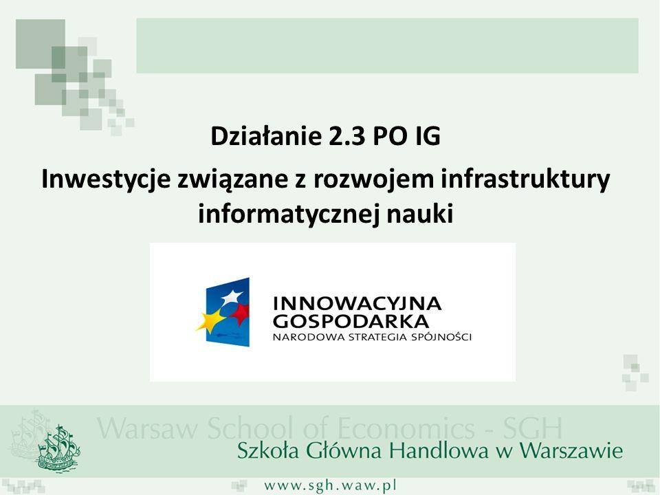 Działanie 2.3 PO IG Inwestycje związane z rozwojem infrastruktury informatycznej nauki