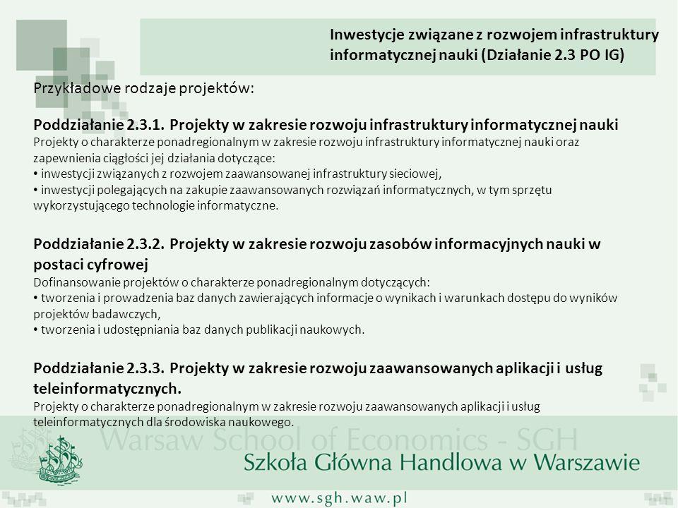 Przykładowe rodzaje projektów: Poddziałanie 2.3.1. Projekty w zakresie rozwoju infrastruktury informatycznej nauki Projekty o charakterze ponadregiona