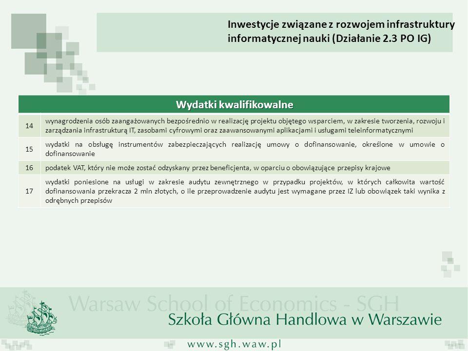 Inwestycje związane z rozwojem infrastruktury informatycznej nauki (Działanie 2.3 PO IG) Wydatki kwalifikowalne 14 wynagrodzenia osób zaangażowanych b
