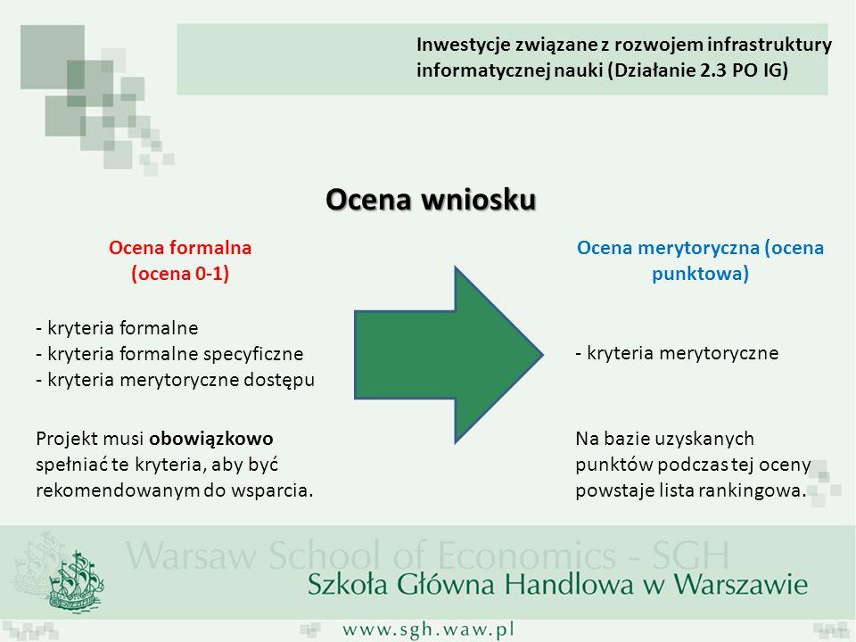 Inwestycje związane z rozwojem infrastruktury informatycznej nauki (Działanie 2.3 PO IG) Ocena wniosku Ocena formalna (ocena 0-1) Ocena merytoryczna (