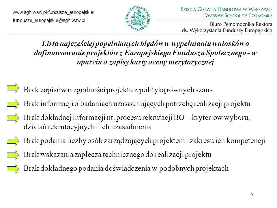 5 www.sgh.waw.pl/fundusze_europejskie/ fundusze_europejskie@sgh.waw.pl Lista najczęściej popełnianych błędów w wypełnianiu wniosków o dofinansowanie projektów z Europejskiego Funduszu Społecznego - w oparciu o zapisy karty oceny merytorycznej Brak zapisów o zgodności projektu z polityką równych szans Brak informacji o badaniach uzasadniających potrzebę realizacji projektu Brak dokładnej informacji nt.