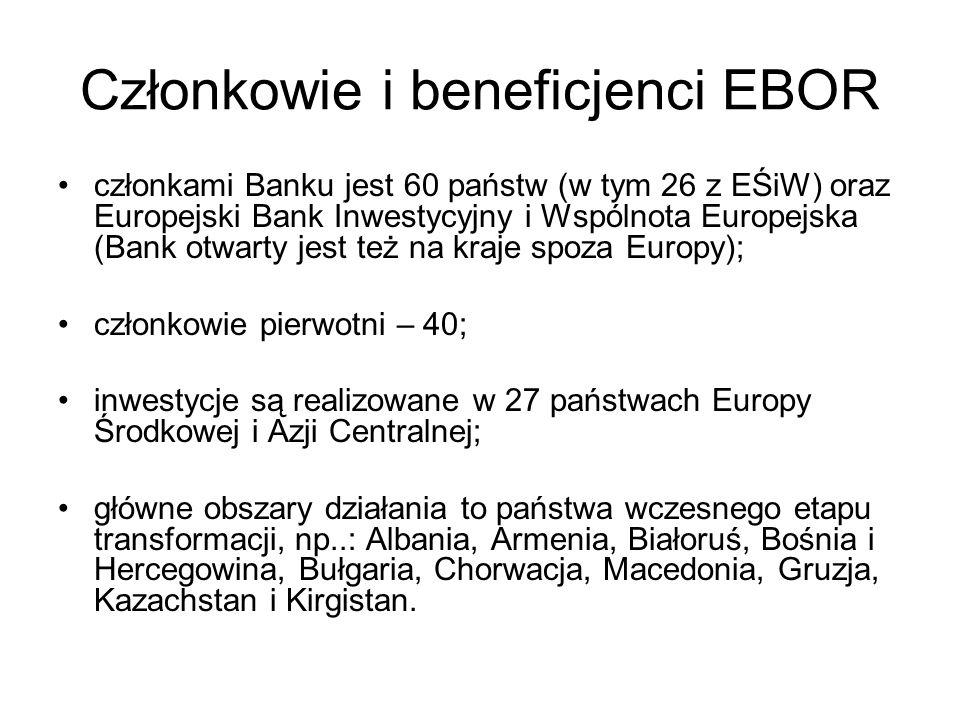 Członkowie i beneficjenci EBOR członkami Banku jest 60 państw (w tym 26 z EŚiW) oraz Europejski Bank Inwestycyjny i Wspólnota Europejska (Bank otwarty