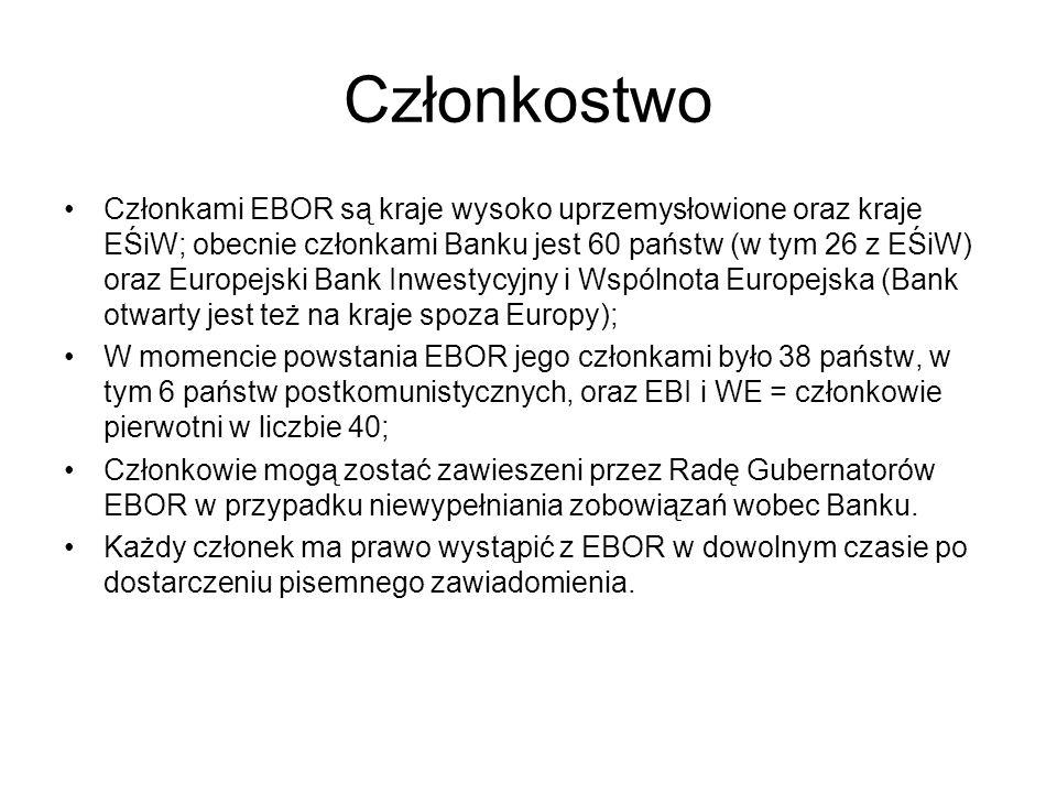 Członkostwo Członkami EBOR są kraje wysoko uprzemysłowione oraz kraje EŚiW; obecnie członkami Banku jest 60 państw (w tym 26 z EŚiW) oraz Europejski B