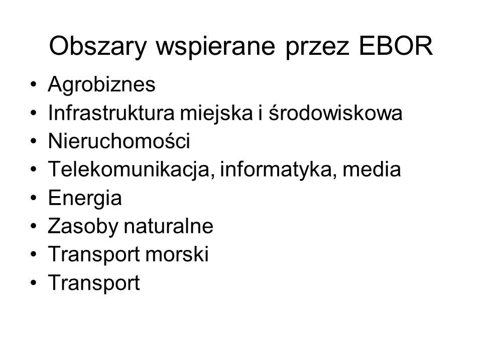 Obszary wspierane przez EBOR Agrobiznes Infrastruktura miejska i środowiskowa Nieruchomości Telekomunikacja, informatyka, media Energia Zasoby natural