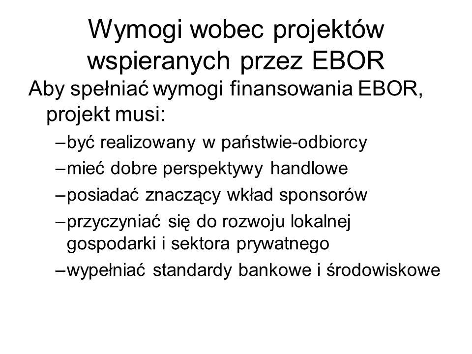 Wymogi wobec projektów wspieranych przez EBOR Aby spełniać wymogi finansowania EBOR, projekt musi: –być realizowany w państwie-odbiorcy –mieć dobre pe