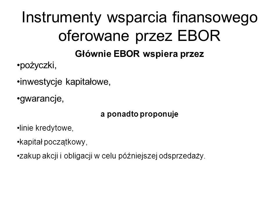 Instrumenty wsparcia finansowego oferowane przez EBOR Głównie EBOR wspiera przez pożyczki, inwestycje kapitałowe, gwarancje, a ponadto proponuje linie